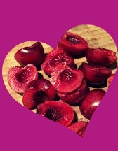 chopped cherries in a heart